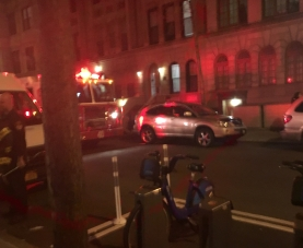 Firetrucks outside a Columbia dorm