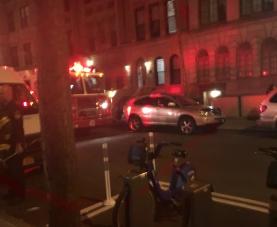 Firetrucks outside a Columbia dorm